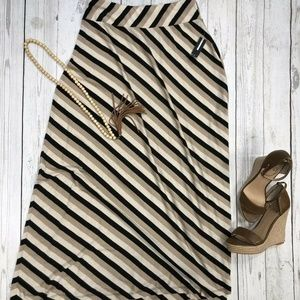 NEW DIRECTIONS Stripe Long Maxi Skirt NWT SZ PS